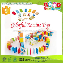 Venta al por mayor Eco-Friendly Material de madera dura 107pcs / set domino niños juguetes