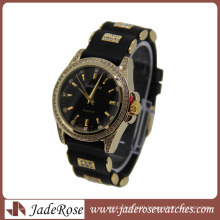 Hot Sell Black Strap Gold Case Ladies Quartz Silicone Watch