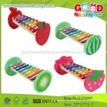 EZ9009 2015Hot vendiendo juguetes de madera musicales de los niños, diseño de la fruta Juguete de madera musical del bebé del xilófono, instrumento de música de madera