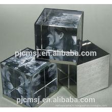 Mode personnalisé 3D cristal photo cube / verre cube cadre photo