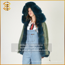 Estilo Europeu Moda OEM Service Jacket Alinhado Zipper Fur Parka