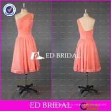 ED Bridal Elegant One Shoulder A Line Joelho de comprimento Chiffon Peach Red vestido de dama de honra 2017