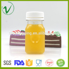 Transparente leere quadratische PET 100ml Saft PET Flasche mit manipulationssicheren Kappe