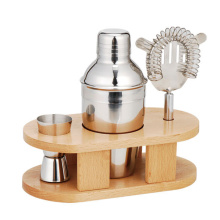 Estante de madeira Cocktail Shaker Gift Set