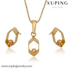 63772-bulk Modeschmuck China 18 Karat Gold Custume Schmuckset