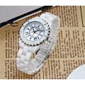 Weiß mit Rose Gold Ton Akzente Virginia Retro Keramik Uhren