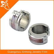 316 L stainless steel men fashion piercing jewelry shell hoop earrings