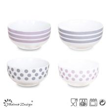 Tazón de cerámica de 13 cm con la etiqueta de color simple