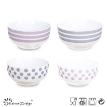 13cm Ceramic Bowl with Simple Color Decal