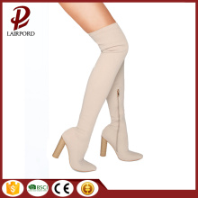 beige suede fabric over knee women boots