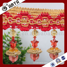 2016 new curtain design handmade braided and five star pattern beads fringe for lantern and curtain deco