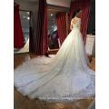 Великолепный цветок с плеча длинным шлейфом девушки свадебное платье из Китая