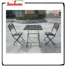 bistro plegable al aire libre de malla de acero conjunto silla de malla de acero y muebles de acero de mesa