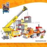 Kids plastic construction toy trucks excavator connecting plastic connecting building block toys