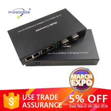 Gigabit 10/100 / 1000M transceptor óptico com 2 portas SFP 4 porta ethernet