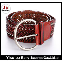 Fashion Ladie′s Bonded Leather Braid Belt with Rivet