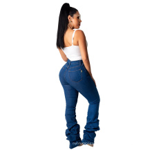 Fashion Ladies Fall Winter Denim Button Fly MID Waist Draped Zippered Straight Stacked Denim Women Jeans Pants