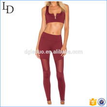 Zip front closure women sexy sport wear fitness yoga wear