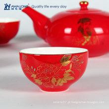 Chinoiserie Porcelana Presente Chá Vermelho Set Para Novo Casal / Oriental Estilo Presente Bone China Chá Set
