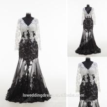 RP0170 2016 atacado novo modelo sexy sheer lantejoulas laço pérola V pescoço manga comprida vestido preto e branco mascarada vestidos de baile