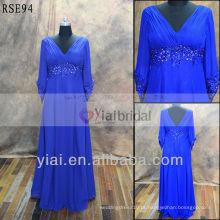 RSE94 Vestidos de praia de manga comprida para a mãe do vestido de noiva Azul marinho