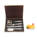 S/S cheese knife set with wooden box