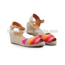 Nouvel été, simples sandales colorées, chaussures, dames, talon, caoutchouc, jute