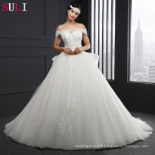 SL037 Cheap Long Boat Neck Zipper Lace Applique Wedding Dress 2016