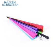 Publicité OEM En Gros Logo Imprimé Coloré Longue Poignée Droite Anti UV Sun Pluie Bâton Manuel Grand 24 Rib Arc-En-Parapluie