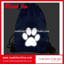 Foldable reflective drawstring backpack for safety