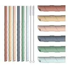 Flexible Screw Thread Silicone Straws
