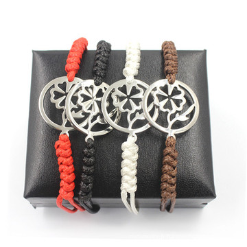 Coeur chaleureux de fleurs de Noël Bracelets de fleurs Bracelet en cuir