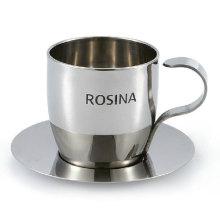 Set de tasse à café tasse à expresso métal et soucoupe vide