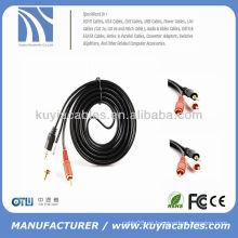 Negro 3m oro plateado 3.5mm cable 2rca
