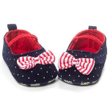 Fashion DOT Bowknot Baby Shoes Anti-Slip 0-1 Year Infant Moccasins