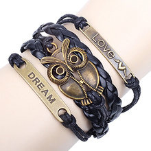 Acessórios tecidos cordão pulseira de metal originais pulseiras de infinito amor sonho único coruja bronze vintage