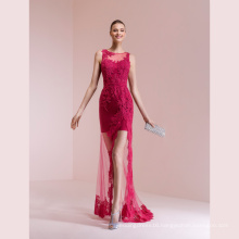 Fuchsia Lace Sheath Prom Cocktail Evening Gown