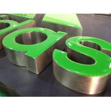 Laterales de acero inoxidable con resina LED iluminado Cara sin marco letreros de letras