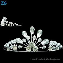 Corona cristalina de la boda de la manera, pequeñas coronas cristalinas de la reina, corona de las pequeñas muchachas