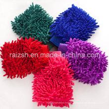 Chenille Washing Mitt Sided Coral Fleece