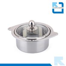 Forma de moda de acero inoxidable pot caliente y olla de cocina con tapa de cristal