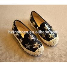 Блеск детей повседневная обувь блестки плоские девочки espadrille обувь со звездами