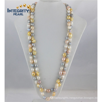11mm AA Baroque Long Inches Freshwater Mixed Color Pearl Necklace