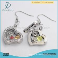 Designer öffnende Herzform Kristall schwimmende Medaillon Ohrringe mit magnetischen Großhandelspreis