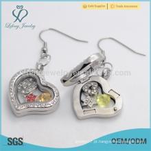 Designer openable coração forma cristal pingentes flutuante locket com preço grossista magnético
