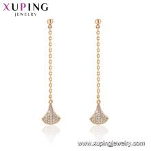 96865 xuping moda chapado en oro borla pendiente de piedra para las mujeres