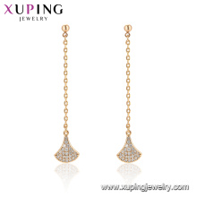 96865 xuping fashion gold plated tassel drop stone earring for women