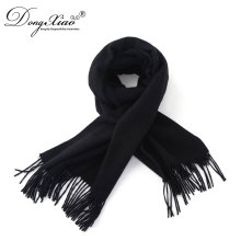 Adult New Arrival Long Plain Black Scarf Mens Custom Made Cashmere Scarf