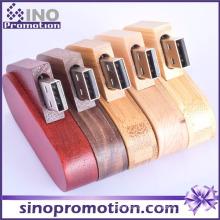 Personalizado Creative Mogno Madeira Girar USB Flash Drive
