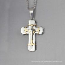 Einzigartiges Design drei Kreuz Anhänger, Edelstahl Kreuz Männer Stahl Anhänger